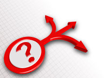 Path. Question mark in red shows the arrows moving in an unknown direction Royalty Free Stock Images