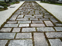 Path. A brick path in a Japanese garden stock photos