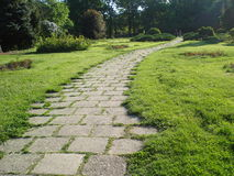 Path. Paved path in park on sunny summer day Royalty Free Stock Photo