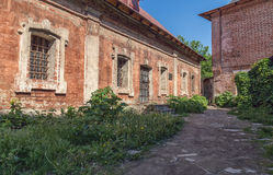 Path between abandoned old buildings. Path between abandoned buildings in the old part of Moscow, Russia Royalty Free Stock Photos