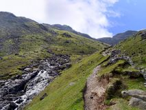 Path above Combe gill in The Combe, Lake District. Relatively dry Combe gill between Rosthwaite and Thornythwaite Fells Royalty Free Stock Image