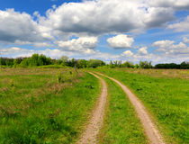 Path across green meadow. Under nice clouds in sky Royalty Free Stock Photo