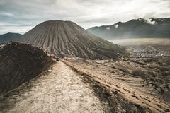 Path on active Bromo volcano`s rim royalty free stock photography