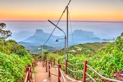 Path from Adams peak, Sri Lanka. Walking path from Adams peak at sunrise, Sri Lanka royalty free stock photo