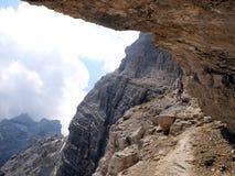 Path Alfredo Benini in the Brenta Dolomites mountains in Italy Royalty Free Stock Photo