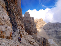 Path Alfredo Benini in the Brenta Dolomites mountains in Italy Royalty Free Stock Photos
