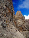 Path Alfredo Benini in the Brenta Dolomites mountains in Italy Stock Images