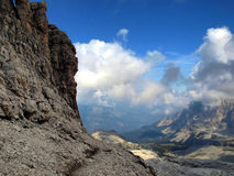 Path Alfredo Benini in the Brenta Dolomites mountains in Italy Royalty Free Stock Images