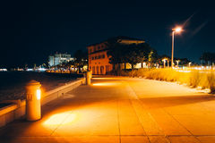 Path along the beach at night in Clearwater Beach, Florida. Stock Images