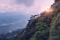 The path along the cliff at dusk-Lingshan Shangrao Stock Photography
