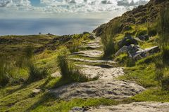 A path along the cliff of Slibh Liag, Co. Donegal. A path along the cliff of Slibh Liag, Co. Donega.l royalty free stock images