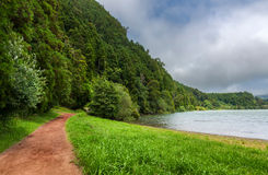 Path along Furnas Lake in Sao Miguel, Azores Stock Photo