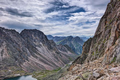 The path along the high cliffs in the mountains of Eastern Siberia Stock Photo