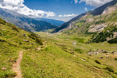 Path along high mountains Royalty Free Stock Images