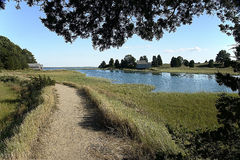 Path along ocean inlet. A path follows the inlets of the ocean Royalty Free Stock Photo