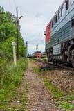 The path along the railway station. Train. Maksatikha. At the station in Maksatikha. Tver region Stock Photos
