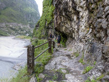 Path along a river Marsyangdi. Marsyangdi river valley - Annapurna circuit trek in Nepal royalty free stock photo