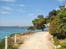 Path along rural coast near Alcudia, Majorca, Spain Stock Photo