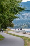 Path along the seawall in Stanley Park royalty free stock images