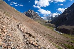 Path in amazing Tien Shan mountains Stock Photos