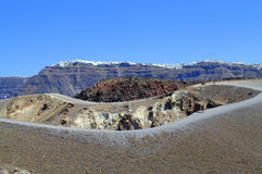 Path around the volcanic crater, Nea Kameni Stock Photo