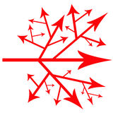 Path of arrows. Path arrows symbolizing the possible and different roads in life and career Stock Images