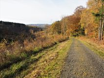 Path beside autumn trees with a distant view, Gibside. Path bee trees with autumn foliage with a view of distant hills at Gibe near Newcastle upon Tyne, England stock images