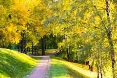 Path through an autumn wood in Tsaritsyno Park. Path through an autumn wood. Tsaritsyno Park, Moscow, Russia Stock Photos