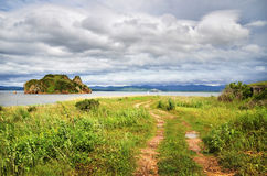 Path in beach, Sea of Japan, Primorye Stock Photography