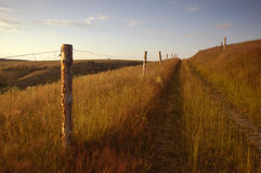 Path bordered by fence. Country path bordered by fence Stock Photos