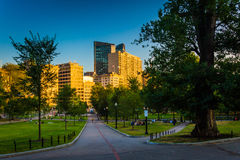 Path in the Boston Common and evening light on buildings in Bost Stock Photo