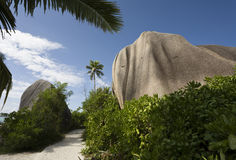 Path and Boulder. La Digue, Republic of Seychelles, Indian Ocean Stock Photos