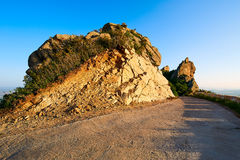 The path and boulder moorstone sunset Stock Photo