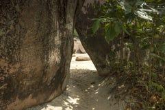 Path between boulders rocks, Anse Lazio. Path between granite rocks in Anse Lazio beach, Praslin Island, Seychelles Royalty Free Stock Photos