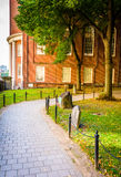 Path and building at an old cemetery in Boston, Massachusetts. Stock Photography