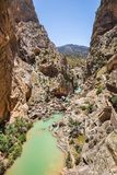 Path Caminito del rey along steep cliffs, rocks and mountain river in Spain stock image