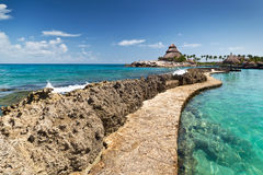 Path at the Caribbean Sea. In Mexico Royalty Free Stock Photo
