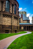 Path and cathedral in Boston, Massachusetts. Stock Photos