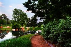 Path in Chicago's - Japanese Gardens. Japanese Garden Path Royalty Free Stock Photos