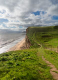 Path on cliffs at West Bay Dorset in UK Stock Photo