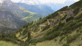 Path for climbers in the Alps in Europe Royalty Free Stock Photo