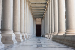 Path between colonnade, symbol of unknown and mystery Royalty Free Stock Photo