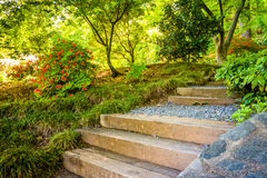 Path through a colorful garden at the National Arboretum in Wash Stock Image