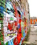 Path of Colour Graffiti Art. Art statement on the brick wall of Windmill Lane in Dublin, Ireland stock photo