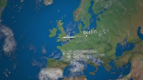 Route of commercial airplane flying from Berlin on the Earth globe. International trip 3D rendering. Path of commercial airplane flying above the Earth globe Stock Image