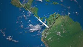 Route of commercial airplane flying from Los Angeles to Rio de Janeiro on the Earth globe stock footage