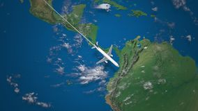 Route of commercial airplane flying from San Francisco to Rio de Janeiro on the Earth globe stock video footage