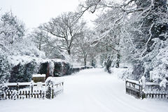 Path through countryside in Winter with snow Royalty Free Stock Photo
