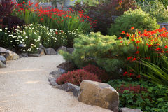 Path With Crocosmia. A path made of course sand winds through a perennial garden in the late afternoon sun stock photo