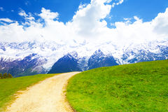 Path crossing meadow near Mont Blanc in summer Stock Photography